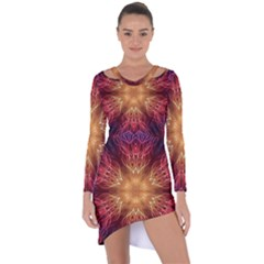 Fractal Abstract Artistic Asymmetric Cut-out Shift Dress