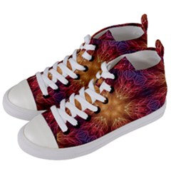 Fractal Abstract Artistic Women s Mid-top Canvas Sneakers by Sapixe