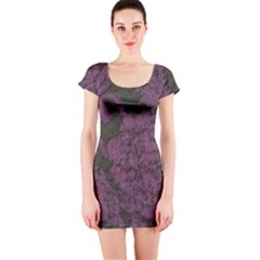 Purple Black Red Fabric Textile Short Sleeve Bodycon Dress