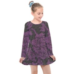 Purple Black Red Fabric Textile Kids  Long Sleeve Dress