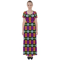 Artwork By Patrick-colorful-2-3 High Waist Short Sleeve Maxi Dress by ArtworkByPatrick