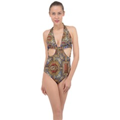 Church Ceiling Box Ceiling Painted Halter Front Plunge Swimsuit