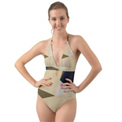 Fabric Textile Texture Abstract Halter Cut-out One Piece Swimsuit by Sapixe