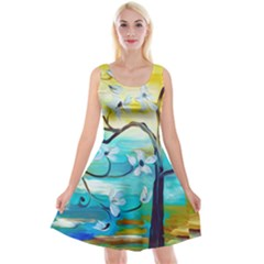 Oil Painting Tree Flower Reversible Velvet Sleeveless Dress