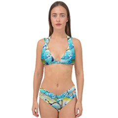 Oil Painting Tree Flower Double Strap Halter Bikini Set