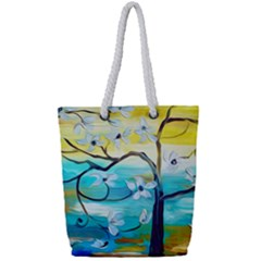 Oil Painting Tree Flower Full Print Rope Handle Tote (small)