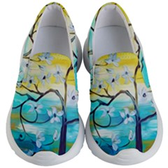 Oil Painting Tree Flower Kid s Lightweight Slip Ons by Sapixe