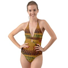 Fabric Textile Texture Abstract Halter Cut Out One Piece Swimsuit