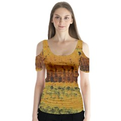Fabric Textile Texture Abstract Butterfly Sleeve Cutout Tee