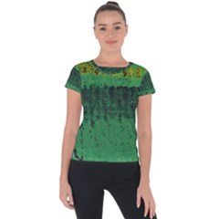 Green Fabric Textile Macro Detail Short Sleeve Sports Top