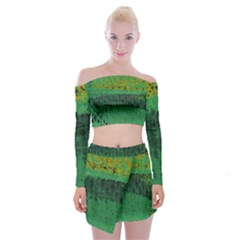 Green Fabric Textile Macro Detail Off Shoulder Top With Mini Skirt Set
