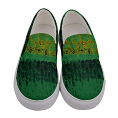 Green Fabric Textile Macro Detail Women s Canvas Slip Ons