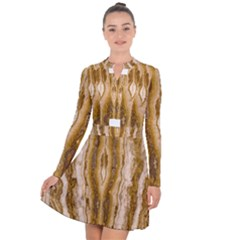 Marble Wall Surface Pattern Long Sleeve Panel Dress