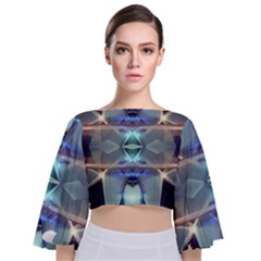 Abstract Glow Kaleidoscopic Light Tie Back Butterfly Sleeve Chiffon Top