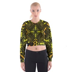 Abstract Glow Kaleidoscopic Light Cropped Sweatshirt