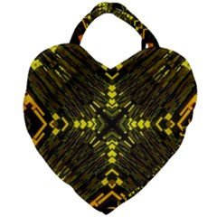 Abstract Glow Kaleidoscopic Light Giant Heart Shaped Tote by Sapixe