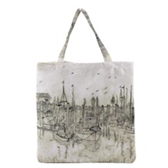 Pencil Drawing Drawing Port Grocery Tote Bag