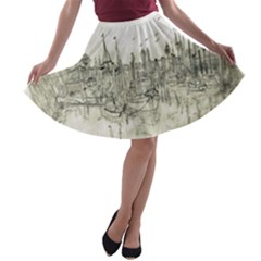 Pencil Drawing Drawing Port A-line Skater Skirt by Sapixe