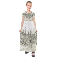 Pencil Drawing Drawing Port Kids  Short Sleeve Maxi Dress by Sapixe