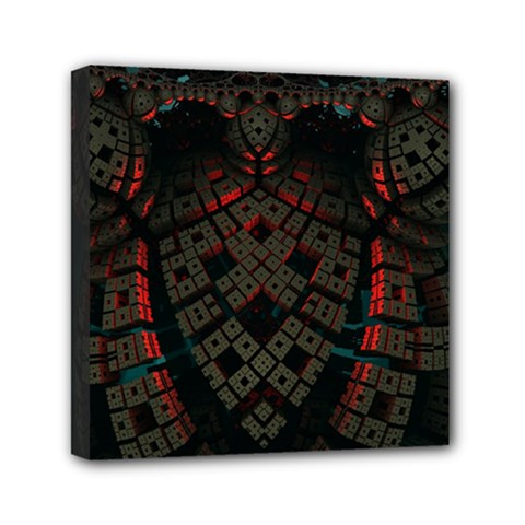 Fractal 3d Dark Red Abstract Mini Canvas 6  X 6  by Sapixe