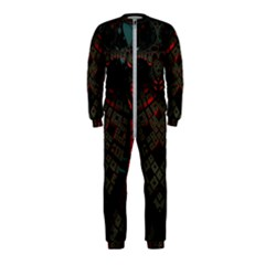 Fractal 3d Dark Red Abstract Onepiece Jumpsuit (kids)