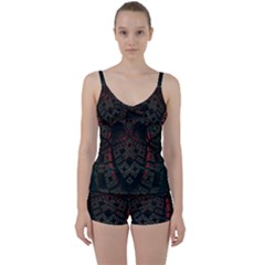 Fractal 3d Dark Red Abstract Tie Front Two Piece Tankini