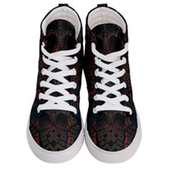 Fractal 3d Dark Red Abstract Women s Hi Top Skate Sneakers