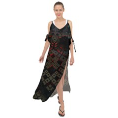 Fractal 3d Dark Red Abstract Maxi Chiffon Cover Up Dress