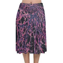 Fabric Textile Texture Macro Photo Velvet Flared Midi Skirt