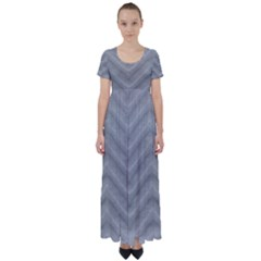 White Fabric Pattern Textile High Waist Short Sleeve Maxi Dress