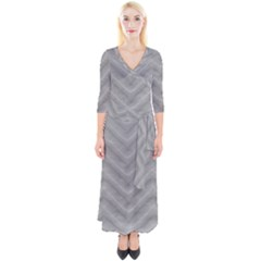 White Fabric Pattern Textile Quarter Sleeve Wrap Maxi Dress