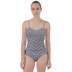 White Fabric Pattern Textile Sweetheart Tankini Set by Sapixe