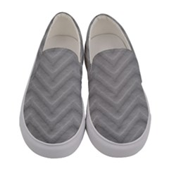 White Fabric Pattern Textile Women s Canvas Slip Ons