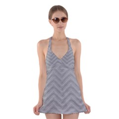 White Fabric Pattern Textile Halter Dress Swimsuit  by Sapixe