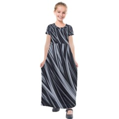 Fractal Mathematics Abstract Kids  Short Sleeve Maxi Dress by Sapixe