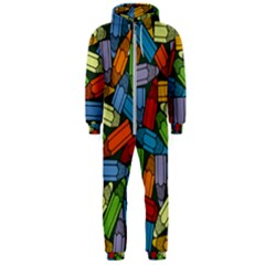Colored Pencils Pens Paint Color Hooded Jumpsuit (men)