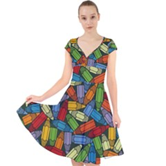 Colored Pencils Pens Paint Color Cap Sleeve Front Wrap Midi Dress