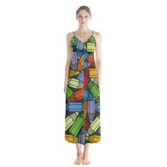 Colored Pencils Pens Paint Color Button Up Chiffon Maxi Dress