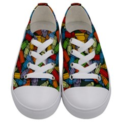 Colored Pencils Pens Paint Color Kids  Low Top Canvas Sneakers