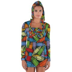 Colored Pencils Pens Paint Color Long Sleeve Hooded T-shirt by Sapixe