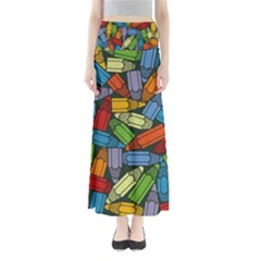 Colored Pencils Pens Paint Color Full Length Maxi Skirt