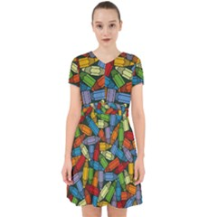 Colored Pencils Pens Paint Color Adorable In Chiffon Dress