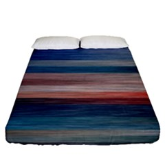 Background Horizontal Lines Fitted Sheet (queen Size) by Sapixe