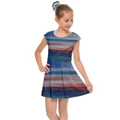 Background Horizontal Lines Kids Cap Sleeve Dress by Sapixe
