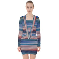 Background Horizontal Lines V Neck Bodycon Long Sleeve Dress
