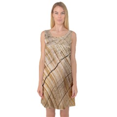 Abstract Brown Tree Timber Pattern Sleeveless Satin Nightdress