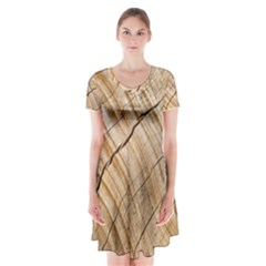 Abstract Brown Tree Timber Pattern Short Sleeve V Neck Flare Dress