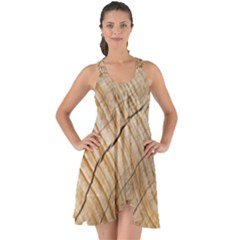 Abstract Brown Tree Timber Pattern Show Some Back Chiffon Dress