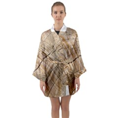 Abstract Brown Tree Timber Pattern Long Sleeve Kimono Robe