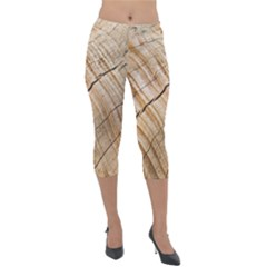 Abstract Brown Tree Timber Pattern Lightweight Velour Capri Leggings